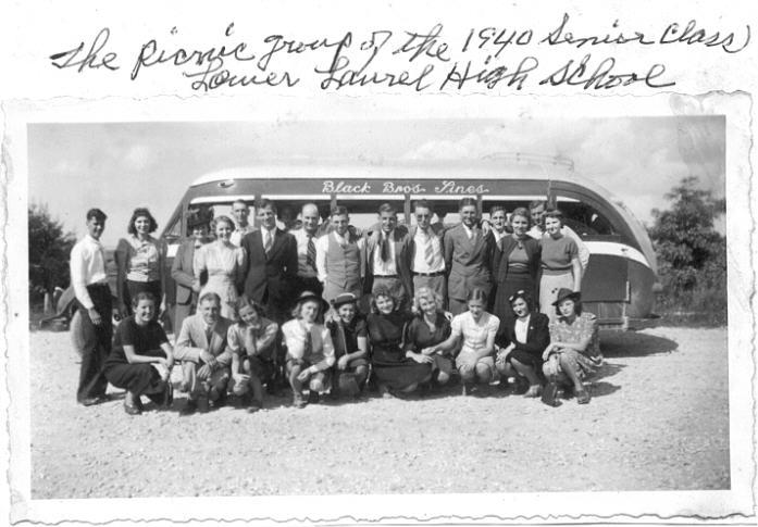 Senior Trip, Laurel High School, Clay County, KY. 1940.