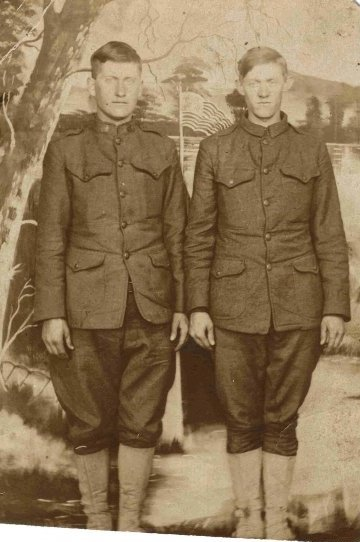 Roscoe Burns (Right), Clay County, Kentucky. Served in the 165th Infantry Regiment, France and Germany, WWI.
