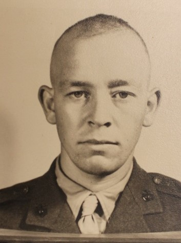 Melvin L. Shumake, Temple, Texas. Served with the 4th Marines during landing on Guam, Okinawa and Occupation of Japan. Former Marine Raider
